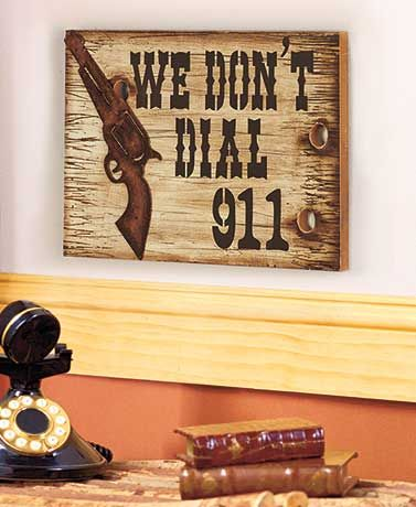 This Gun Home Decor adds a fun touch to any wall. The wooden Sign ...