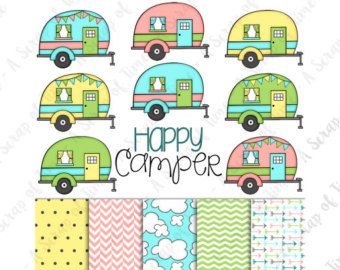 Retro Camper Clipart Camping By GraceGraphicDesign
