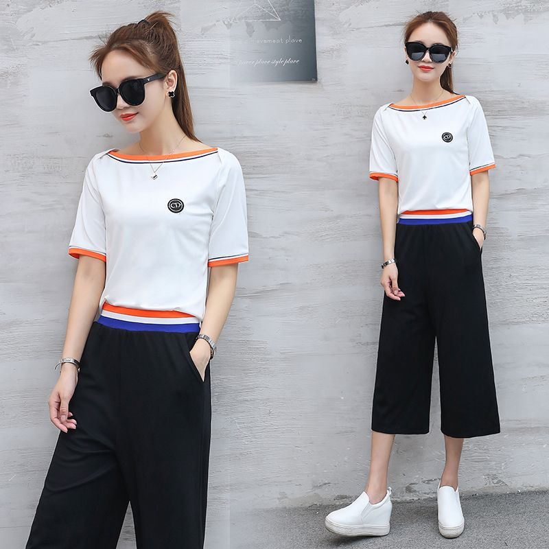 A Woman Set Clothing Leisure Korean Fashion Suits New Summer Sweatshirt    Wide-Legged Pants Two-Piece Outfit Casual S-XL HOT ! 38dee8470ab9