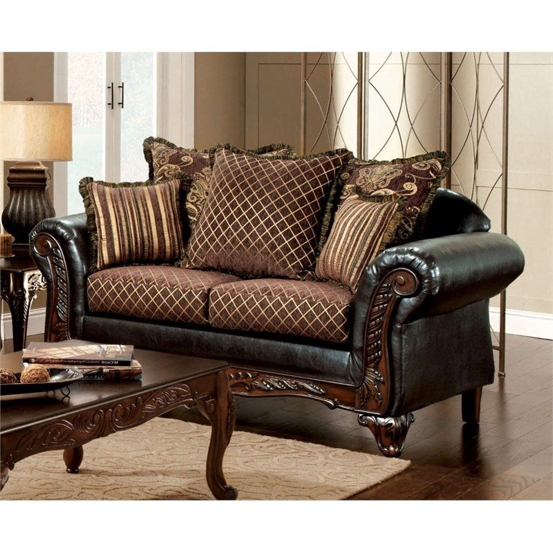 Furniture Of America Glenys Loveseat In Espresso Sofa And Loveseat Set Traditional Living Room Sets Leather Sofa And Loveseat #traditional #living #room #sets #furniture