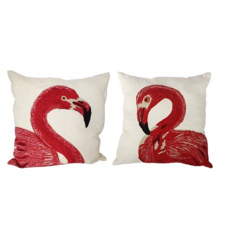 A Home Embroidered Flamingo Throw Pillows, 24 by 24-Inch, Set of 2, Red