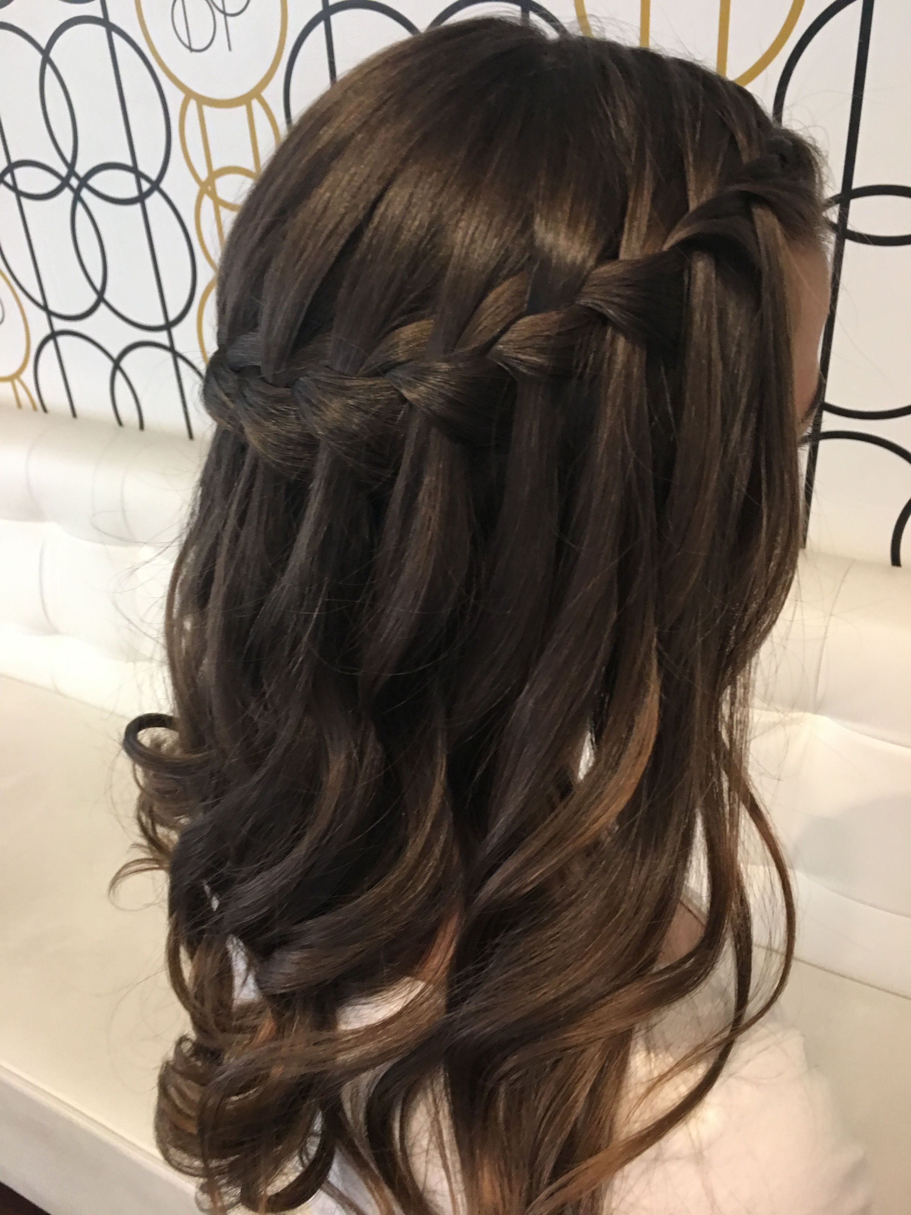 Waterfall braid with loose curls | Brittney Pena | Prom ...