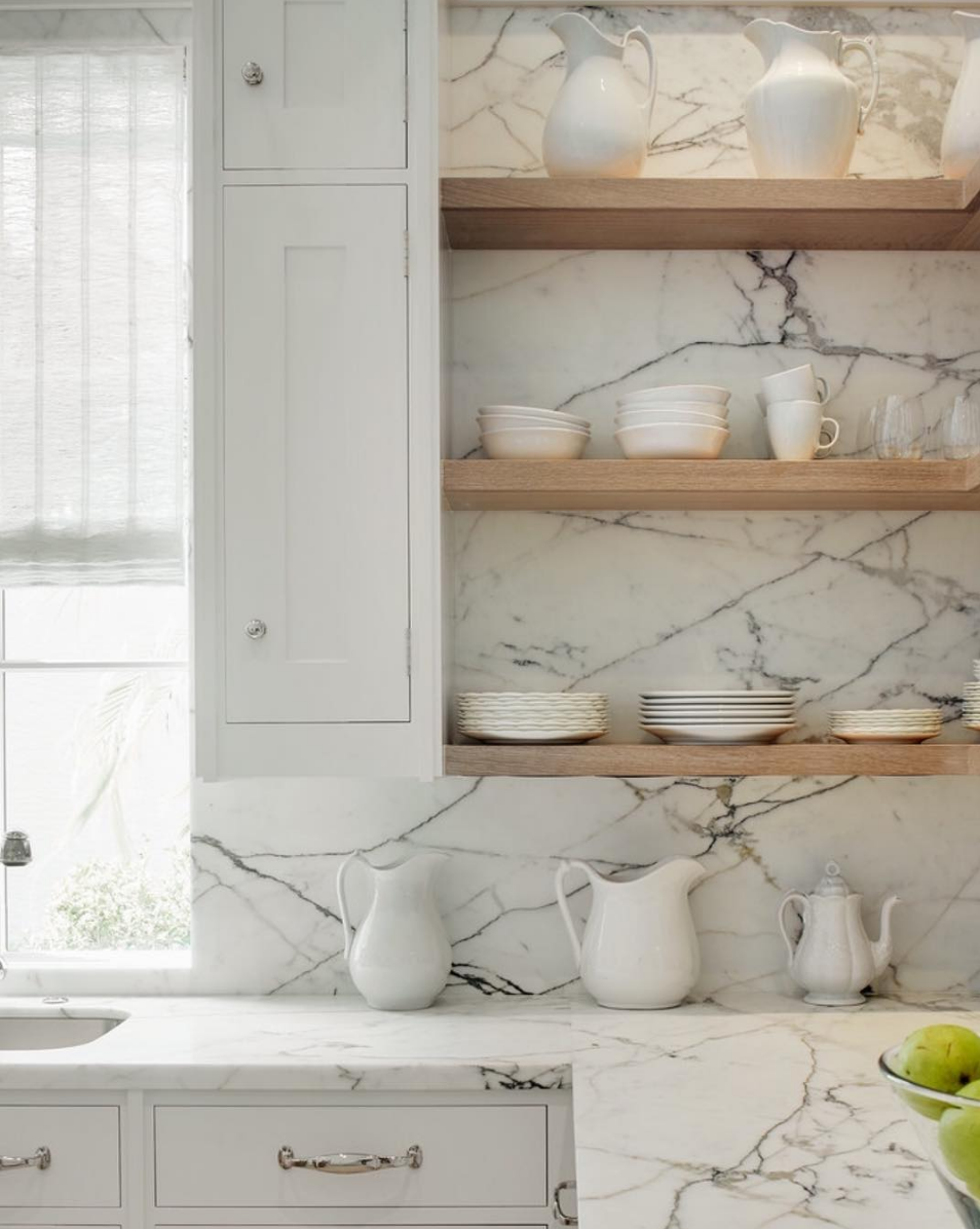 Stone slab counters & backsplash + floating wood shelves | Kitchens ...