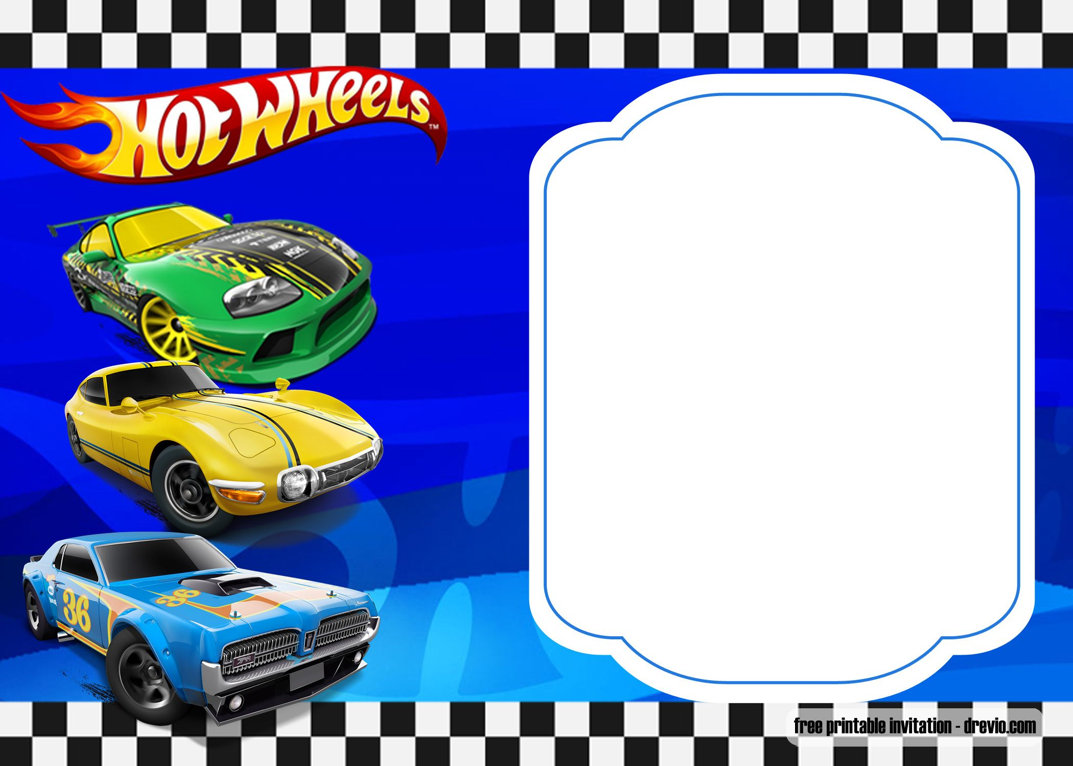 Free Hot Wheels Birthday Invitation Templates Free