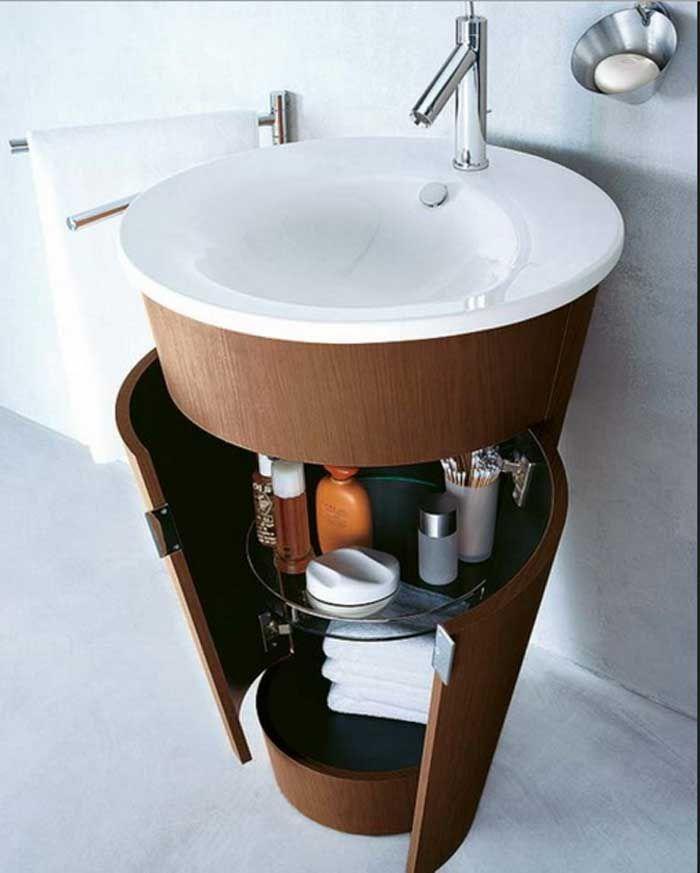 Waschbeckenunterschrank rund als ein regal aus holz und glas ...