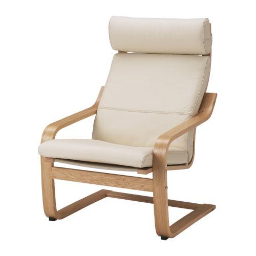 POÄNG Armchair oak veneer, Smidig black   Ikea poang chair