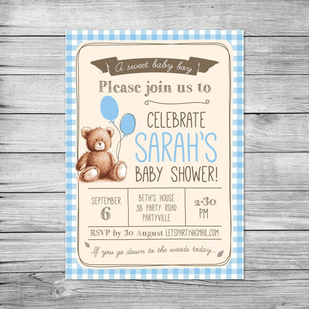 Baby shower invitation gingham teddy bears picnic baby boy baby shower invitation gingham teddy bears picnic baby boy diy filmwisefo Choice Image