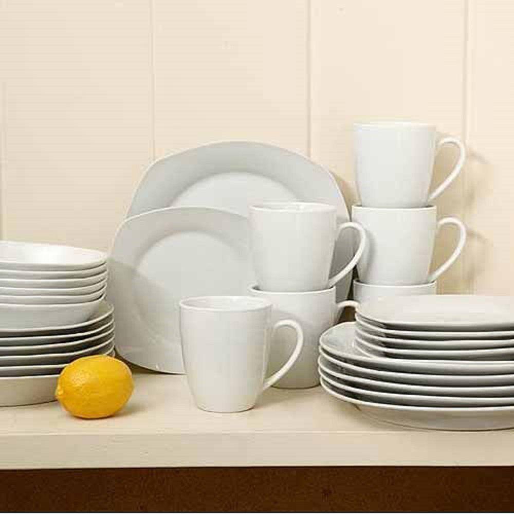 Square Dinnerware Set 30 Piece Dish Set White Contemporary #GibsonHomeLibertyHillPorcelain & Square Dinnerware Set 30 Piece Dish Set White Contemporary ...