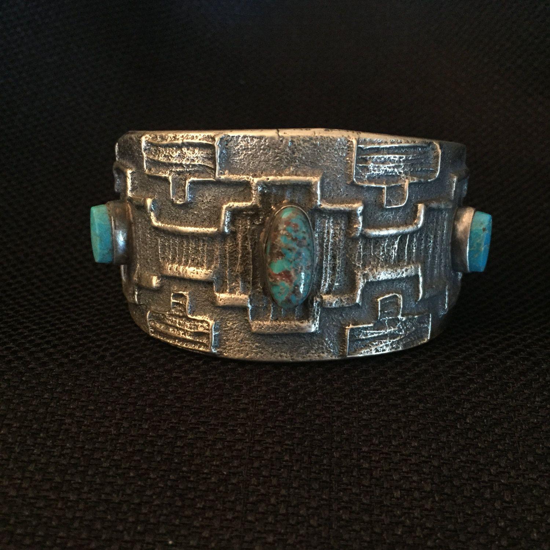 Unusual Navajo Tufa Cast Turquoise Pin Sterling Silver