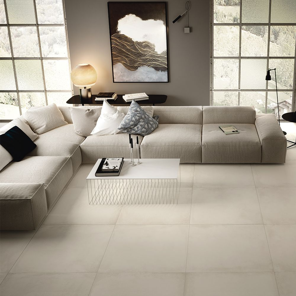 Carrelage Effet Beton 60x60 W Blanc Structure Rectifie Collection