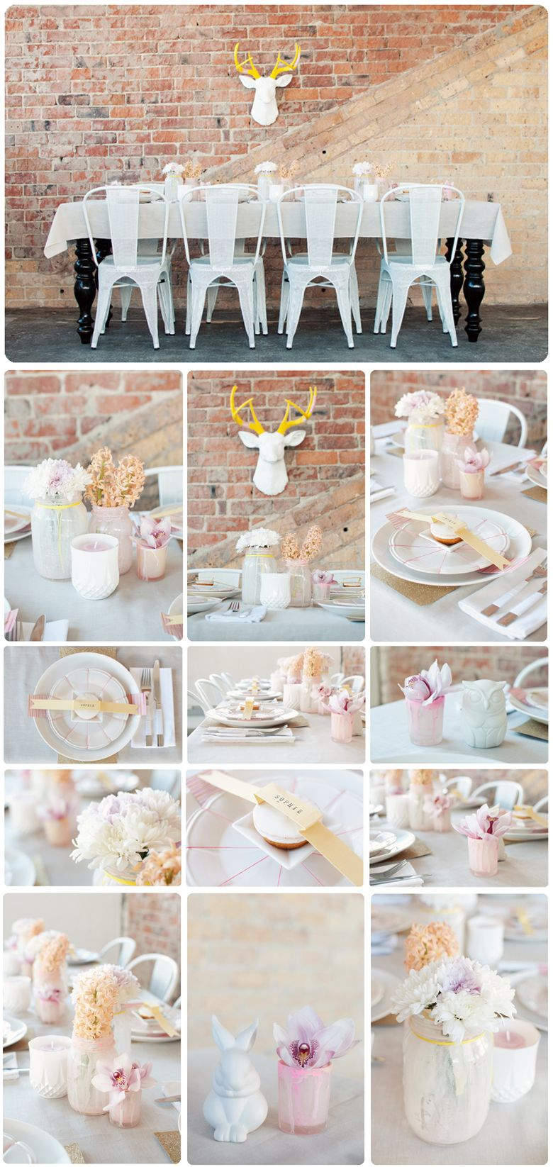 All white and gold wedding decor  Soft Pastel and Gold table setting by All The Frills  PASTEL HUES