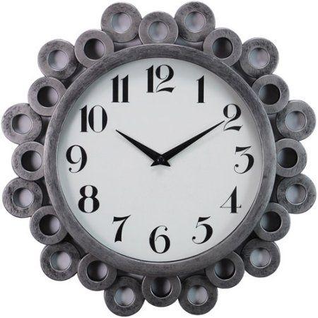 Kiera Grace Bubble Profile 12 Inch Wall Clock With Antique Silver Finish