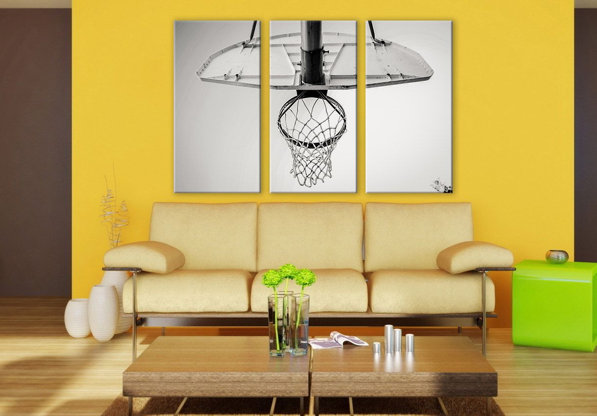 B&W Basketball Net LARGE Canvas 3 Panels Giclee Print Sports Wall ...