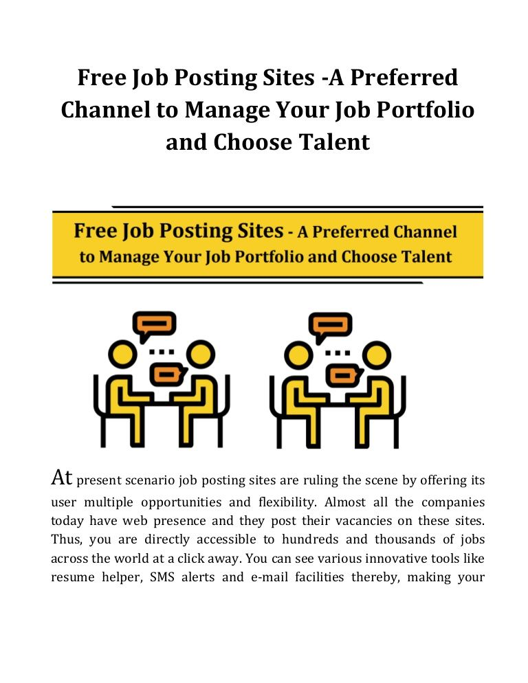 Resume Posting Sites Preferred Channel To Manage Your Job Portfolio And Choose Talent .