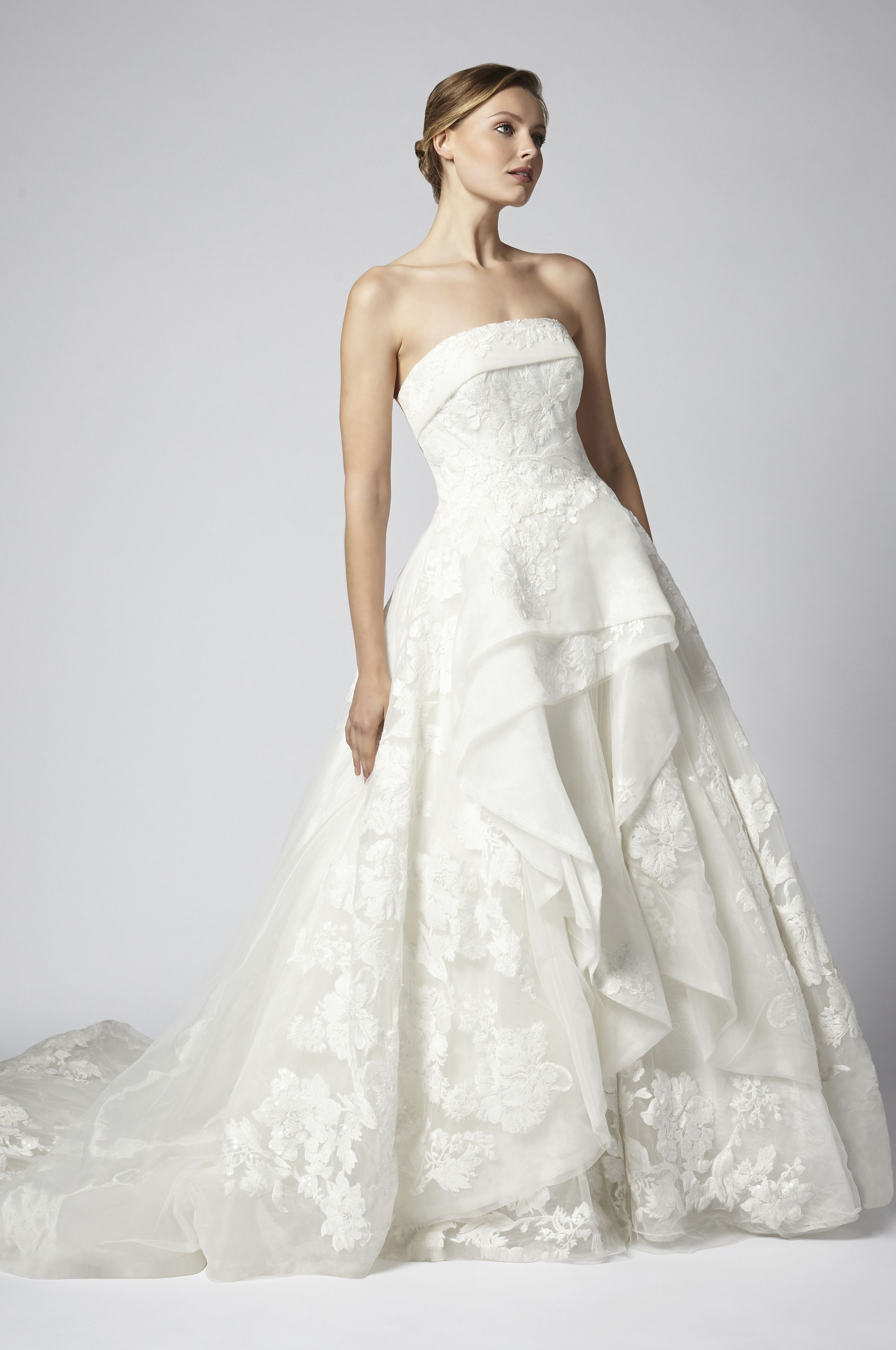 Strapless Tulle And Beaded Ball Gown Tiered Wedding Dress Ball