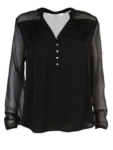 DIANE VON FURSTENBERG Diane Von Furstenberg Phoebe Black Silk Blouse. #dianevonfurstenberg #cloth #shirts