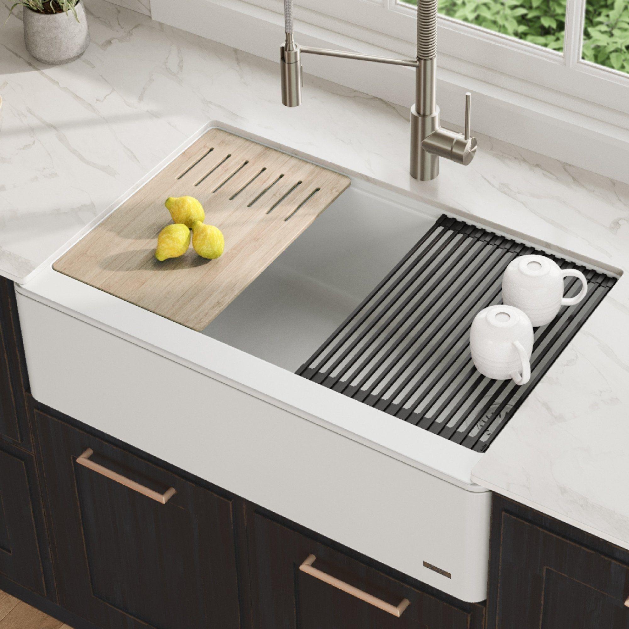 Kraus Bellucci 33 In Ceramtek Granite Composite Farmhouse Kitchen