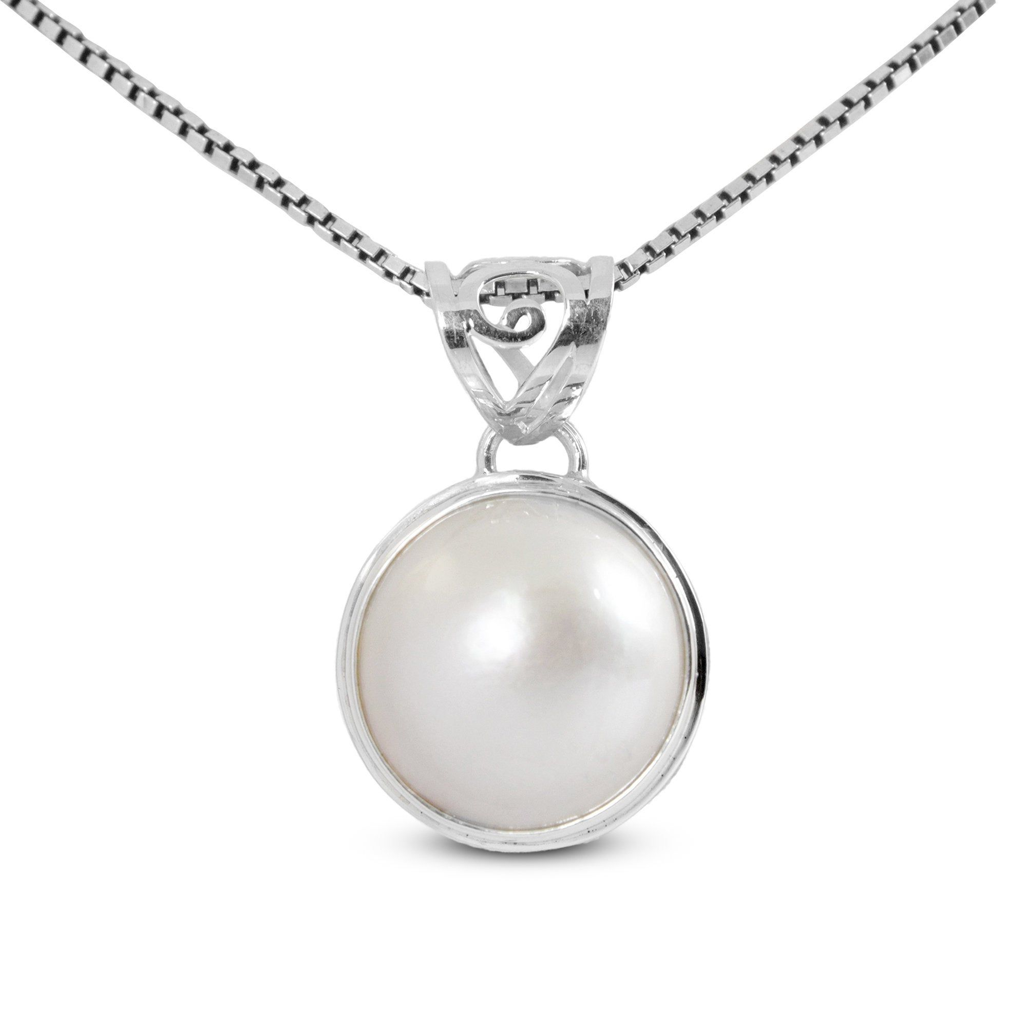 pink pearl Pendant for women beautiful round pendant with genuine pacific Pink mabe pearl decorated with Bali swirl filigree