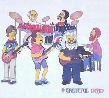 Jerry Garcia as SIMPSONS T-shirt Grateful Dead Phil Lesh Bob Weir Dead /& Company