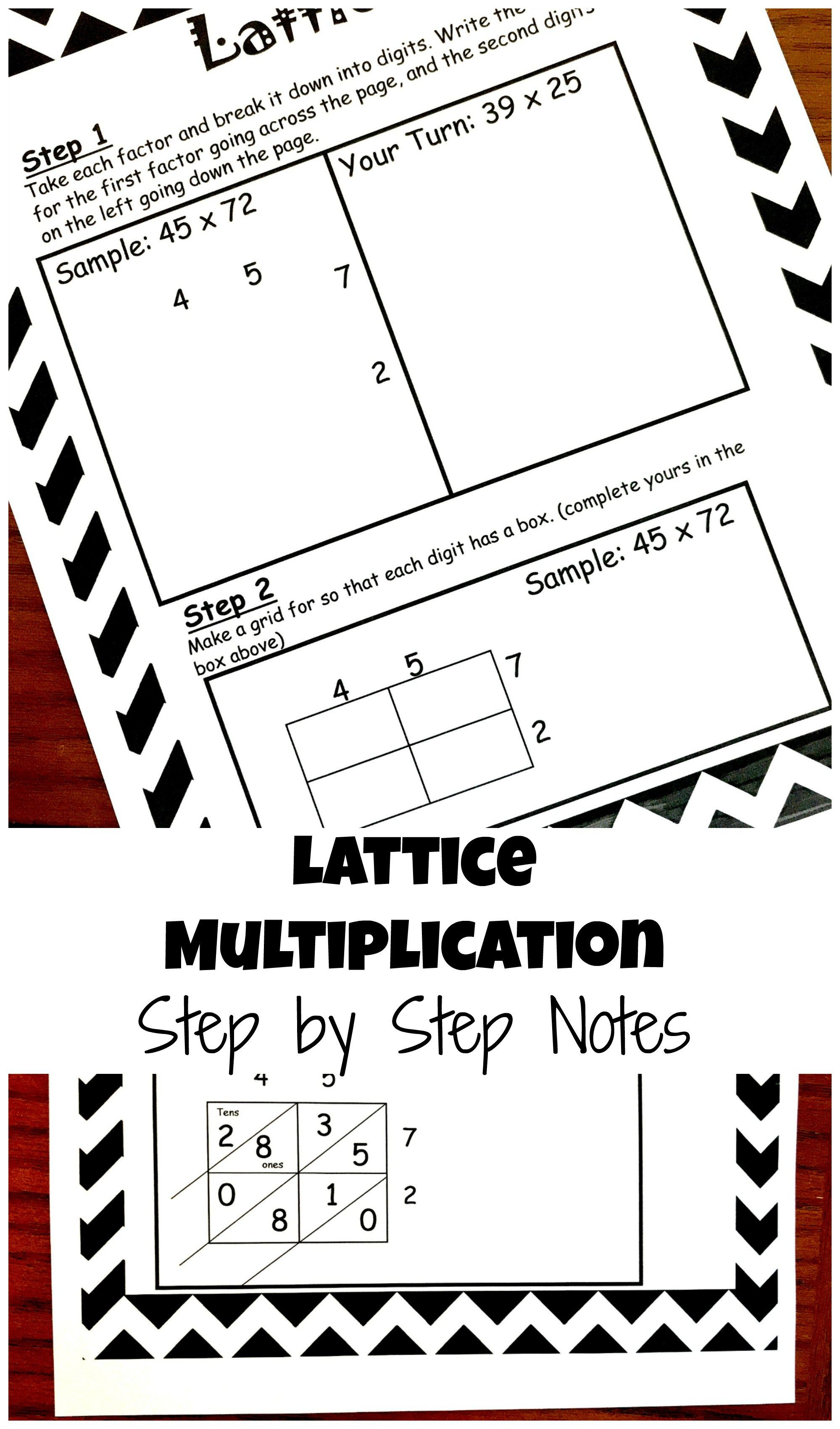 How to Teach Lattice Multiplication: Includes a Free Step by Step Printable    Lattice multiplication [ 3400 x 1999 Pixel ]