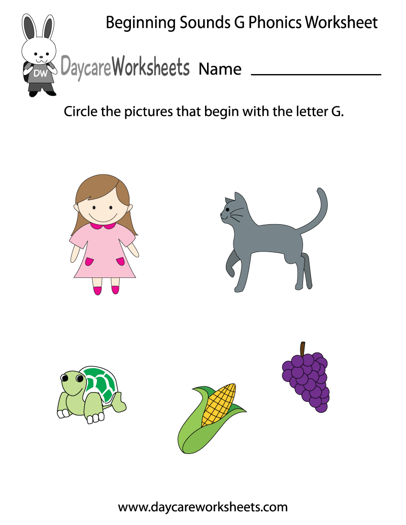 worksheet Preschool Phonics Worksheets this letter g phonics worksheet helps preschoolers identify the learn beginning sounds with our free preschool printables worksheets are an educational tool that associ