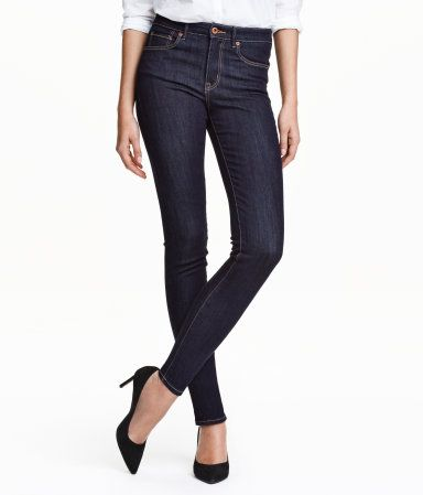 5-pocket jeans in washed superstretch denim with slim legs and a high waist.