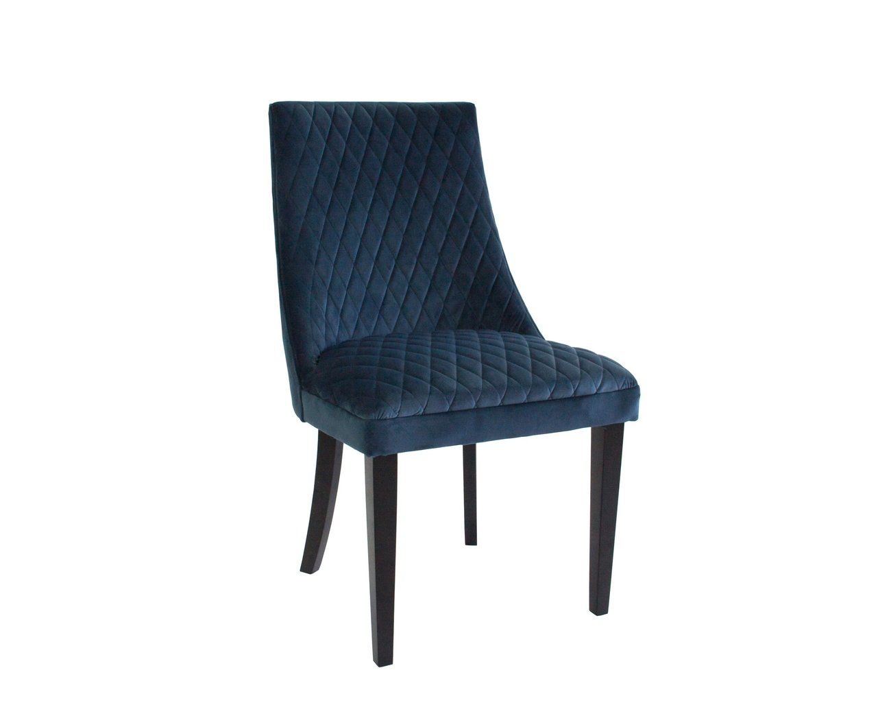 Regent Velvet Dining Chair Set Of Two Steel Blue Black Wood