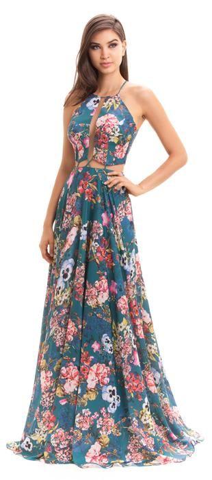 6dc46cf638 Vestido longo de cetim estampado em tema floral