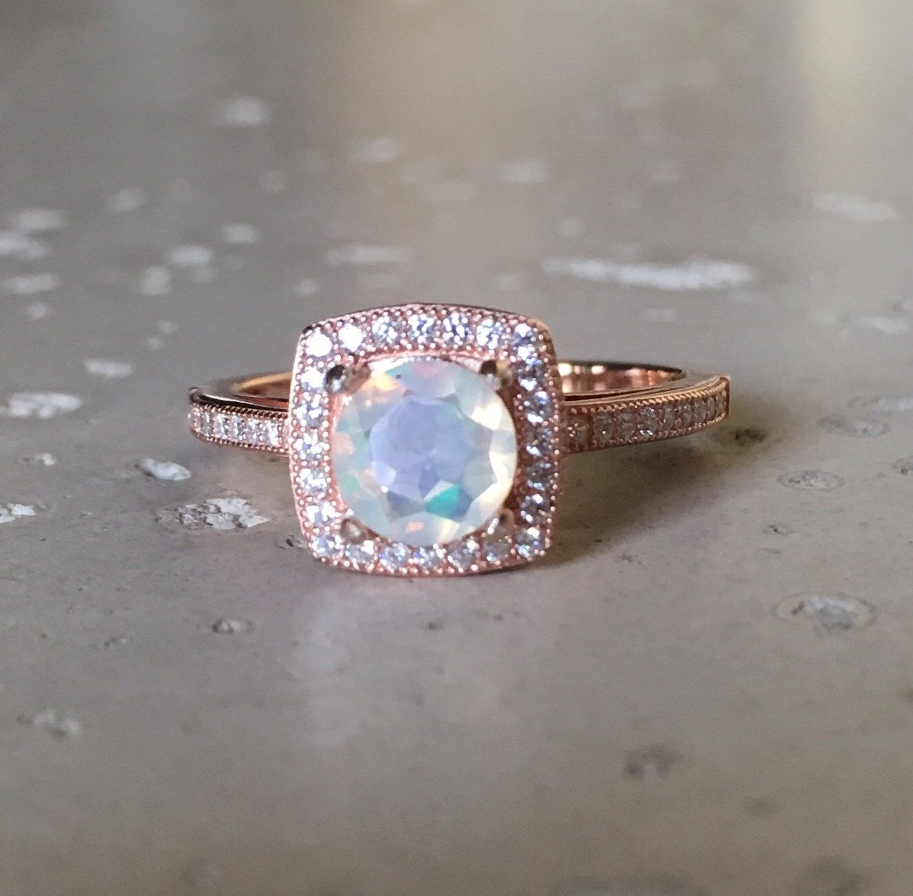 Rose Gold Opal Engagement Ring Unique Opal Promise Ring October  Birthstone Ring Genuine Fire Opal Ring Nontraditional Engagement Ring