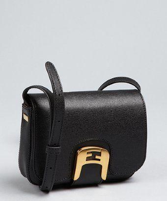 99efec3b44de Fendi   black crosshatched leather  Chameleon  mini crossbody bag ...