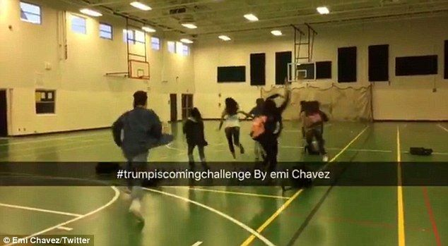 UNITED STATES 🇺🇸 Students ditch class and run for their lives in hilarious #Trumpscomingchallenge videos | Daily Mail Online
