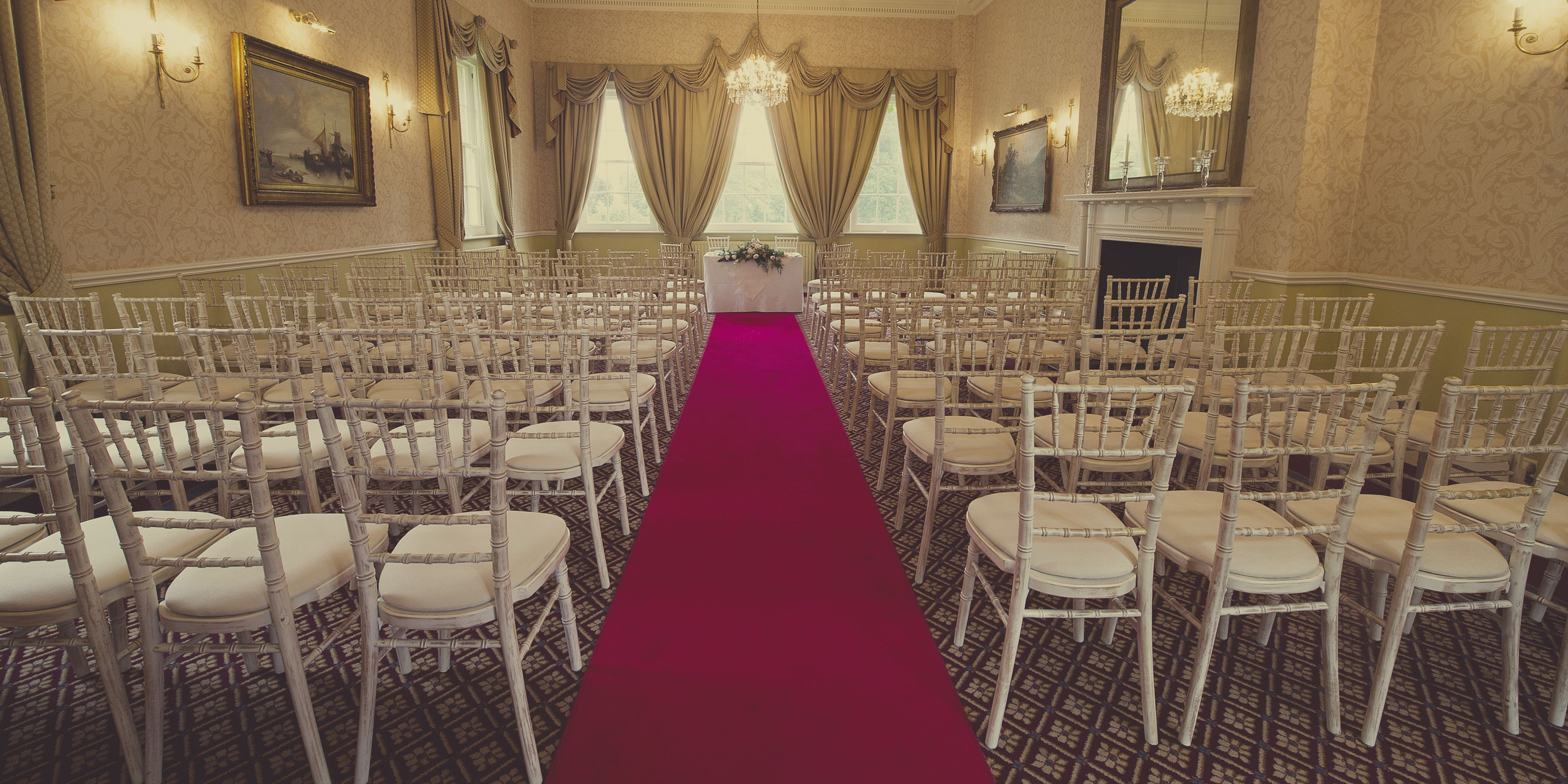 The Elms, Worcestershire Wedding Venue, Civil Ceremony, Red Carpet, Gallery Room, Wedding Venue, Worcester, Abberley