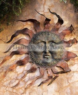 Luxe Large Outdoor Copper Sun Wall Art Decor Plaque Patio Garden