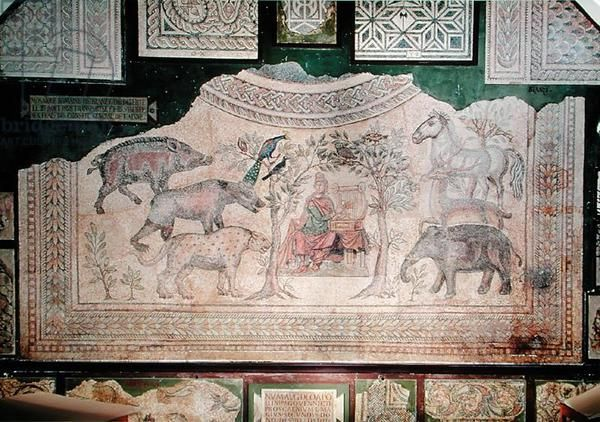 Orpheus charming the animals, from the site of Blanzy (mosaic) Roman, (4th century AD) / Musee Municipal, Laon, France / Giraudon / The Bridgeman Art Library