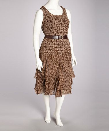 d987a9a6d39 Take a look at this Rust Belted Dress - Plus by Robbie Bee on  zulily