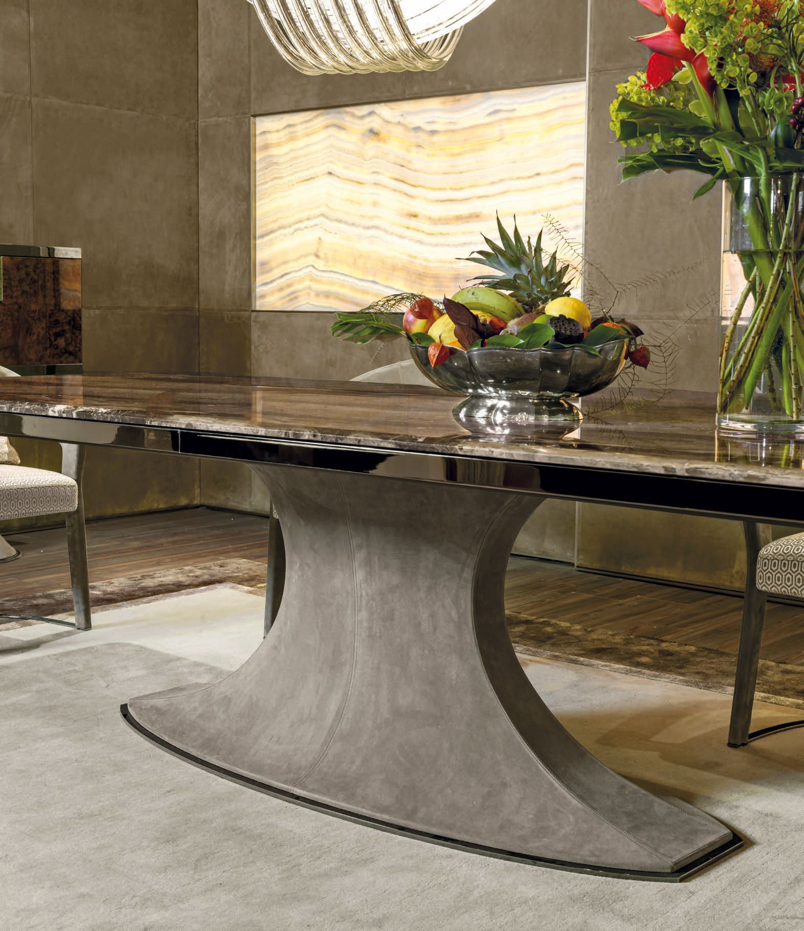 Italian Designer Hubert Dining Table Leather Base Detail High