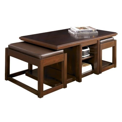 Lance Cocktail Table With 2 Ottomans Hom Furniture Coffee