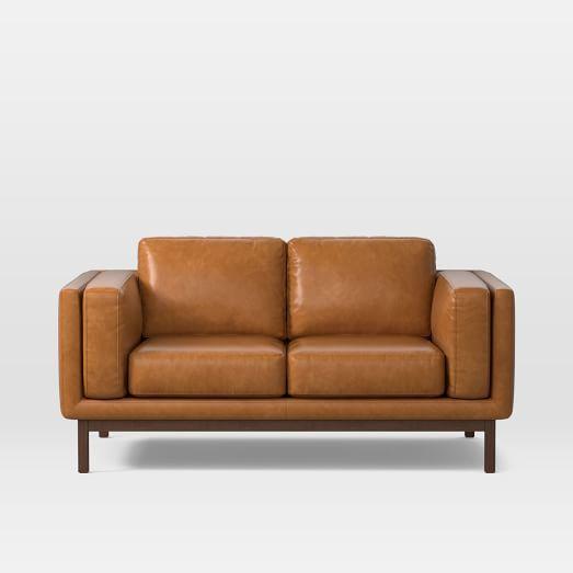 Super Dekalb 68 Loveseat Heritage Leather Verdant Acorn Bralicious Painted Fabric Chair Ideas Braliciousco