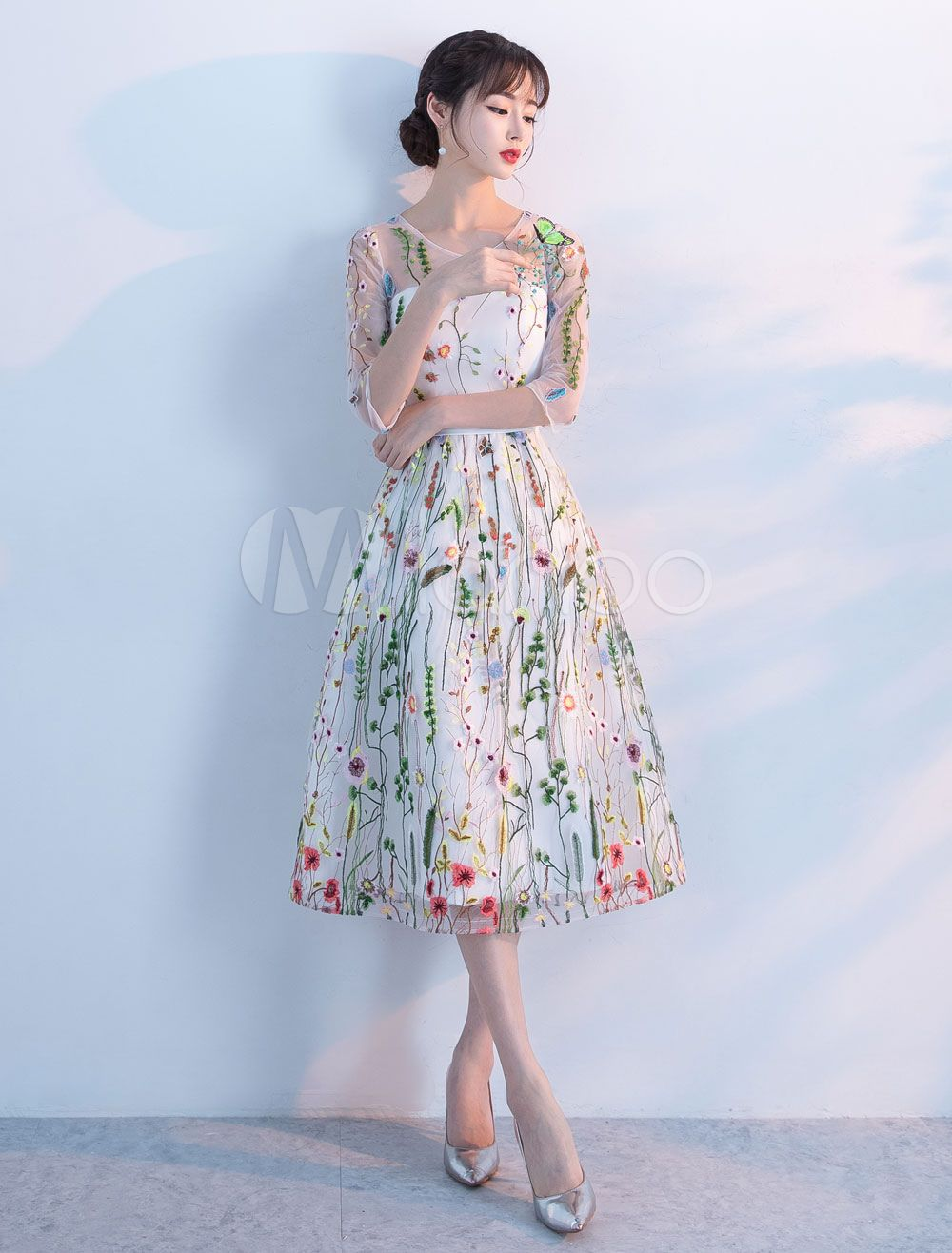b8ef48c3bc7c2 Lace Prom Dresses 2018 Short Floral Print Cocktail Dress Illusion ...
