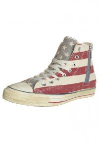 Converse - CHUCK TAYLOR ALL STAR HI SIDE ZIP PRINT SHEARLING CANVAS - Höga sneakers - stars & bars distressed