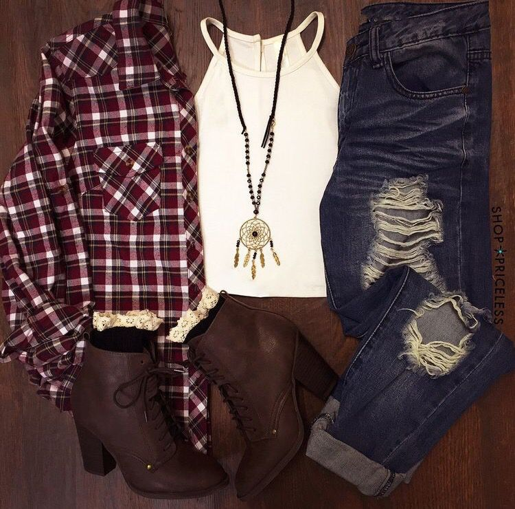 Love plaid and jeans