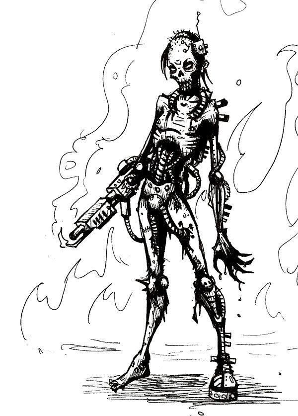 Cyb Zombie Coloring Page Adult