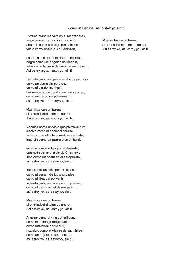 Joaquín Sabina Así Estoy Yo Sin Ti Joaquín Sabina Sabinas Frases Y Poemas