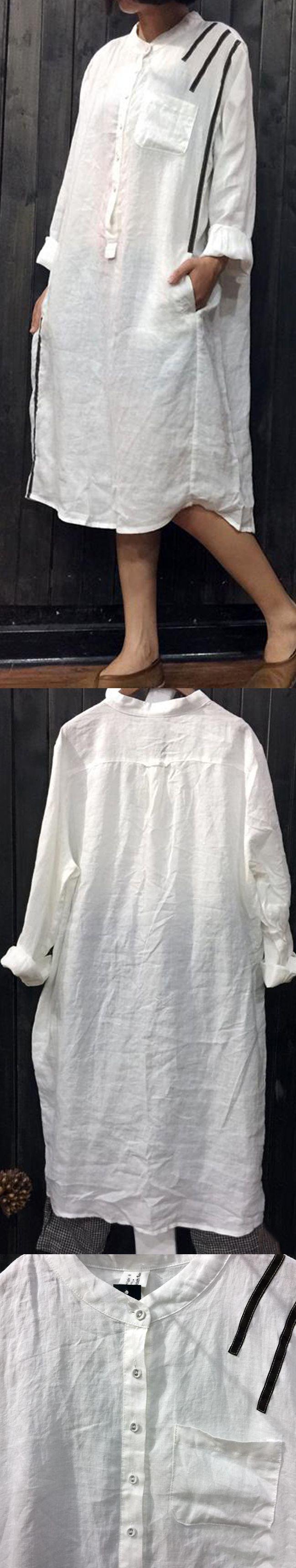 White linen casual long sleeve stand collar shirt dress