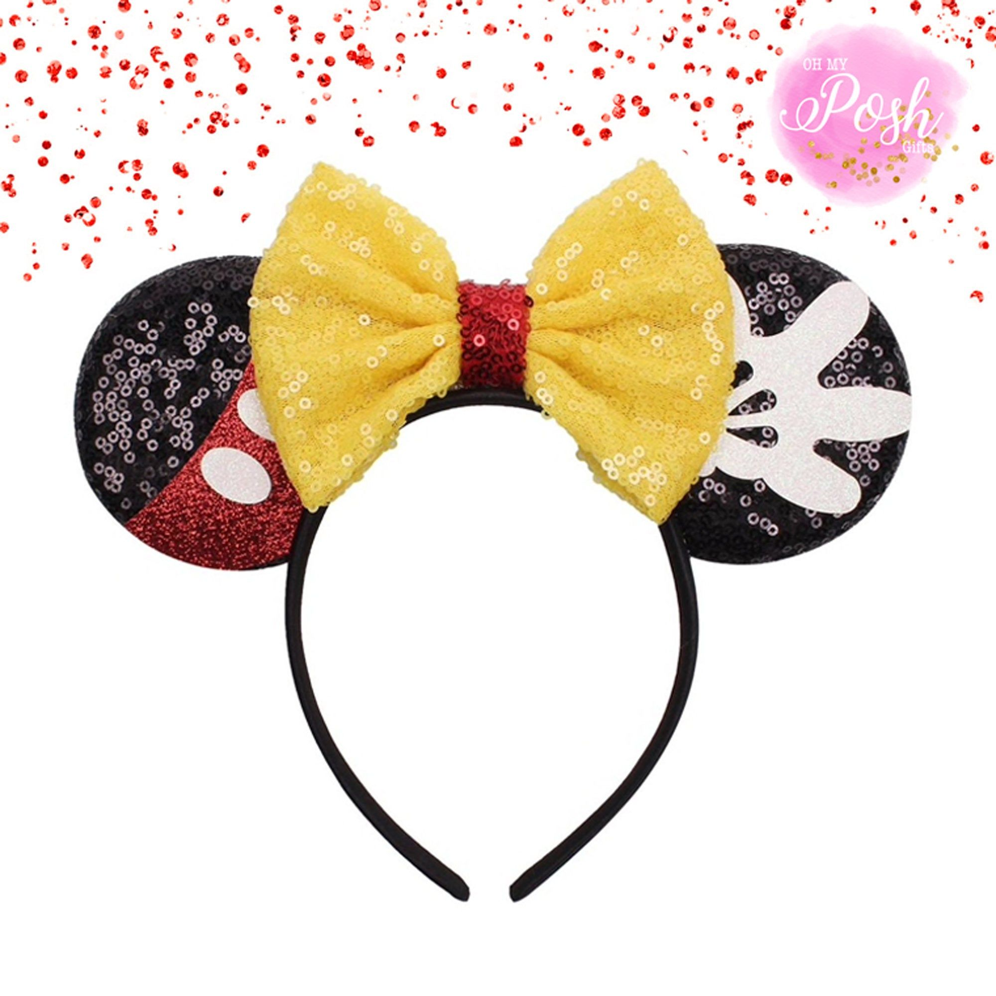 YanJie Lovely Sequin Mouse Ears Headband Glitter Hair Accessories Party Favor Decoration for Children /& Adults