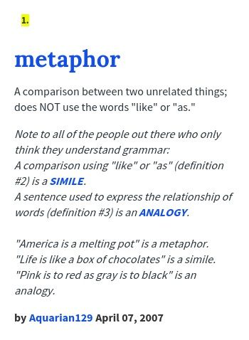 Def Metaphor Google Search Word Definitions Metaphor A Simile