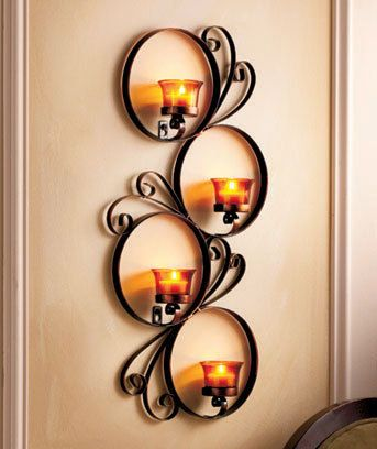 Metal Wall Candle Sconce Scroll Circle Design Holds 4 Tea Lights