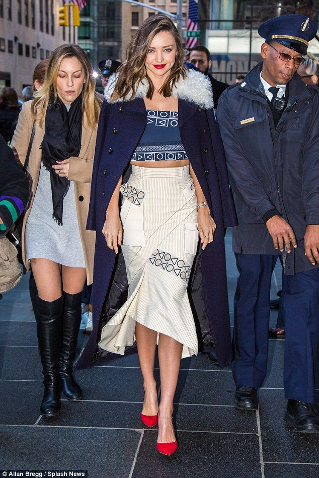 Cosy chic:Before posing for snaps, the brunette beauty - who's currently dating 25-year-o...