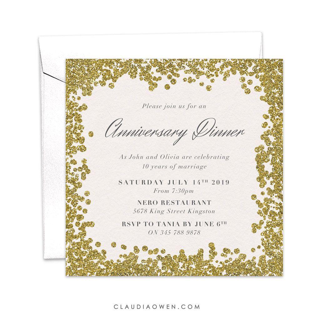 Anniversary Dinner Party Invitation Work Business Etsy Anniversary Party Invitations Work Anniversary Anniversary Invitations