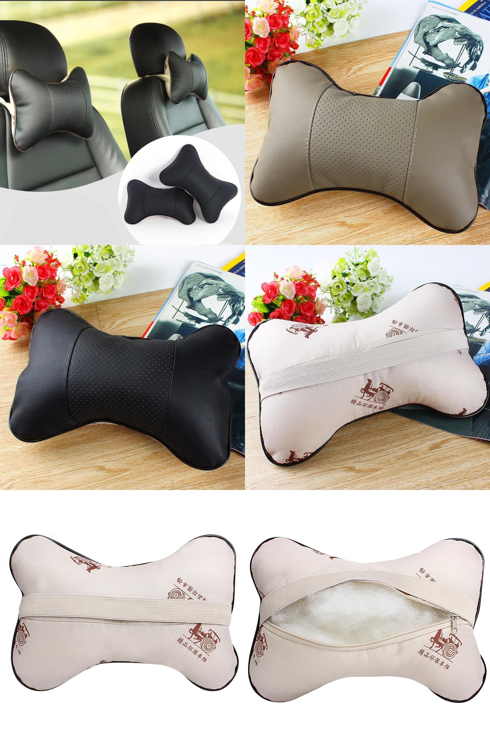 Visit to buy pcs pu leather car headrest neck pillow auto seat